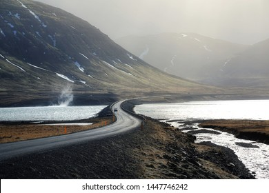 Natural background of country roads among big mountain in Iceland. travel and nature concept.