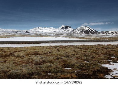 Natural background of country roads among big mountain and snowy in Iceland. travel and nature concept.