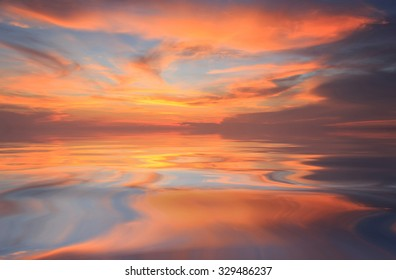 Natural background of the gold color sky and beautiful water reflection , During the time sunrise and sunset