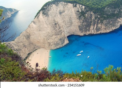 Natural background with sea and stone hills in Zakynthos