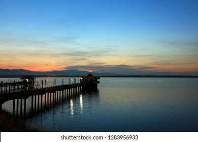 natural background of water pump station in water reservoir with mountain view, Bangphra reservoir view point in Chonburi province, Thailand