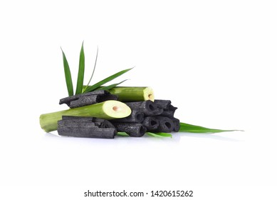 Natural bamboo charcoal isolated on white background