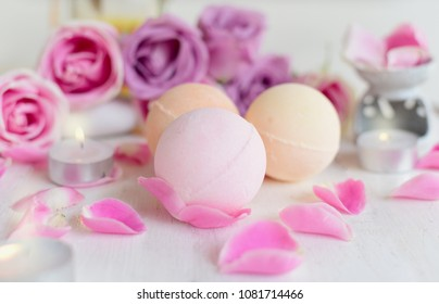 Natural bath Bomb homemade with herb and rose