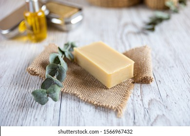 Natural bathroom product, handcrafted soap, horizontal