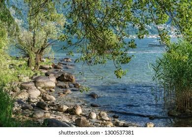 Natural beach of Ascona, Switzerland