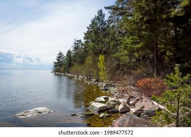 "The natural beach ""Sandvik"" on Brommö island in lake Vänern."