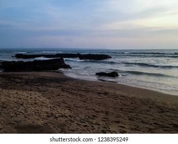 Natural Beach Scenery In The Evening At Batu Bolong Beach, Canggu Village, Badung, Bali, Indonesia