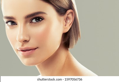Natural beaty woman face natural makeup beautiful female