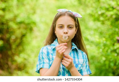 Natural beauty. Childhood happiness. happy child hold blowball. little girl and with taraxacum flower. summer vacation. Rancho and country. dandelion. Spring holiday. Womens day. small beauty.