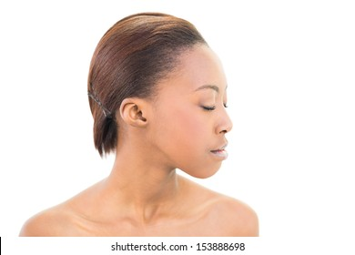 Natural beauty with closed eyes on white background