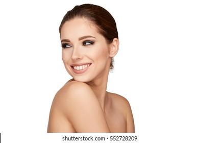 Natural Beauty Portrait. Beautiful  Woman . Perfect Fresh Skin.