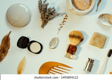 Natural beauty products on a white background