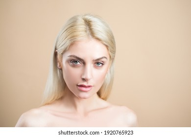 Natural beauty and skincare. No makeup girl. Blonde woman portrait