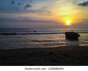 Natural Beauty Of Sunset View At Batu Bolong Beach, Canggu Village, Badung, Bali, Indonesia