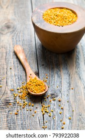 Natural bee pollen on wood