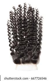 Natural black virgin curly human hair extensions  lace closure