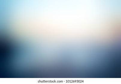 Natural blue beige glare empty background. Blurred vignette simple texture. Abstract illustration. Defocused landscape image.