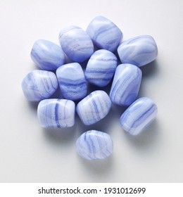 Natural blue lace agate on white background.
