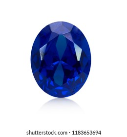 Natural blue sapphire gemstone isolated on white