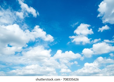 Natural blue sky background with clouds in summer