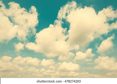 natural blue sky background with white clouds, vintage style effect