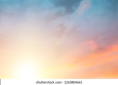 Natural blurred spring backgrounds create light soft colors and bright sunshine a short time before sunset.