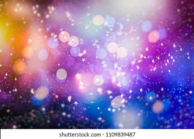 With Natural Bokeh And Bright Golden Lights. Vintage Magic Background With Color Festive background with natural bokeh and bright golden lights. Vintage Magic background with colorful bokeh.