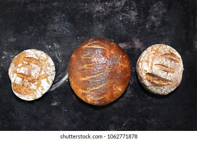 Natural bread from a traditional bakery. A composition of natural, organic bakery pastries.
