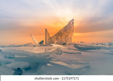 Natural breaking ice over frozen water lake, Baikal Russia winter season natural landscape background