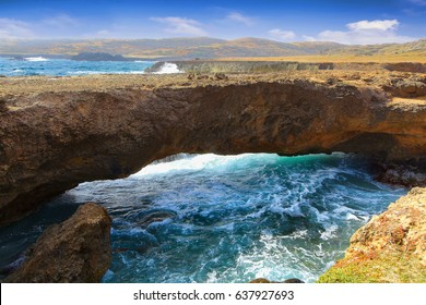 Natural bridge at the Caribbean sea in Aruba