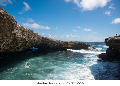 Natural Bridge Formation at Shete Boka natural park, Curacao Island