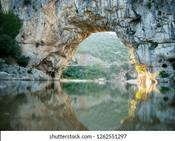 Natural Bridge Pont d'Arc over the river Ardeche  in Southern France