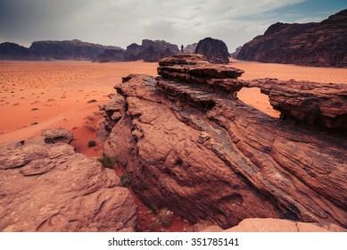 Natural bridge in the Wadi Rum desert.