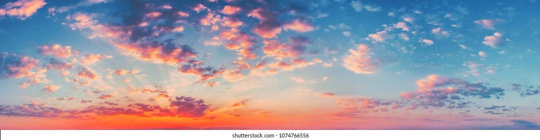 Natural Bright Dramatic Sky In Sunset Dawn Sunrise.
