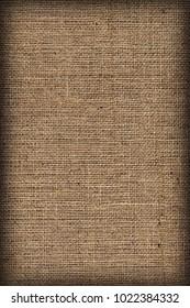 Natural Brown Burlap Canvas Coarse Vignetted Grunge Background Texture