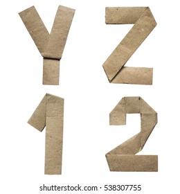 Natural brown origami folded craft eco paper alphabet (abc) letters and numbers y, z, 1, 2