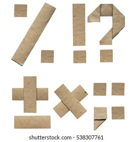 Natural brown origami folded craft eco paper alphabet (abc) letters and punctuation (percent, plus, minus, dot, question, exclamation mark)