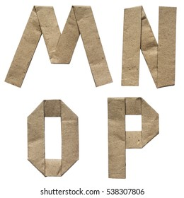 Natural brown origami folded craft eco paper alphabet (abc) letters and numbers m, n, o, p