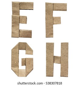 Natural brown origami folded craft eco paper alphabet (abc) letters and numbers e, f, g, h