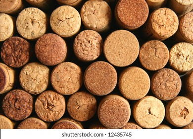 Natural brown wine corks background