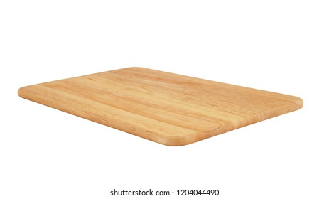 Natural brown wooden cutting board. Chopping board isolated on white background