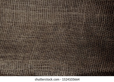 Natural Burlap Fabric with large weave, background and texture, close-up, copy space, isolate