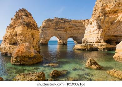 Natural caves at Marinha beach, Algarve Portugal
