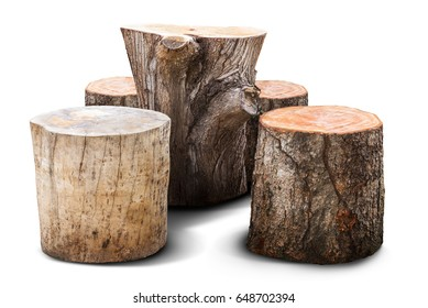 Natural chair and table for garden furniture mad from wooden log isolated on white