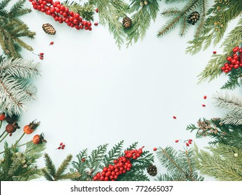 Natural Christmas background. Frame made of christmas fir, spruce, thuja tree branches, red berries, pine cones. Flat lay, top view, copy space