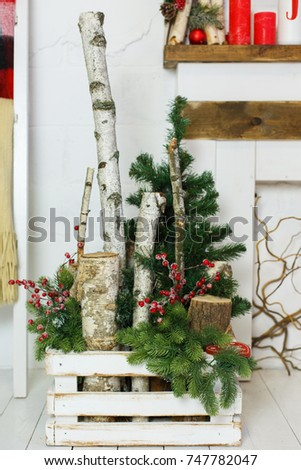 natural christmas decorations in white interior