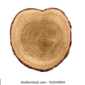 Natural Circular Wood Texture as Heart. Old Tree. Isolated on white.