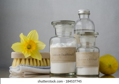 Natural cleaning products, including sodium bicarbonate, salt, white vinegar and lemon, folded cloth, bristle brush and a daffodil to suggest Spring cleaning.