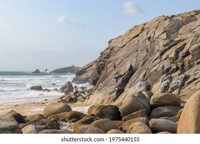 Natural cliffs on beautiful and famous coastline Cote Sauvage on peninsula Quiberon, Brittany, France