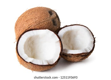 natural coconut open and isolated in white